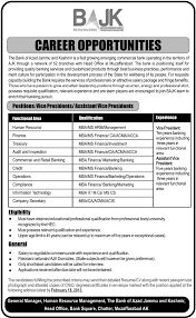 Jobs Opportunities In The Bank Of Azad Jammu And Kashmir For Vice ...
