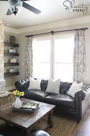 grey leather sofa living room. diy lined window panels. dark couchgrey living room grey leather sofa