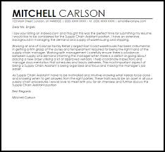 Supply Chain Cover Letter Supply Chain Assistant Cover Letter Sample Livecareer