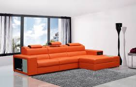 your bookmark s 1 791 00 polaris mini contemporary orange bonded leather sectional sofa