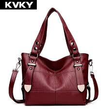 kvky women pu leather handbags brands casual tote patchwork women shoulder bag fashion female cross bags