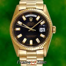 rolex men 18k gold diamond baguette day date president black face rolex men 18k gold diamond baguette day date president black face quickset watch