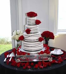 Rock Star Pastries Black Ribbons And Red Roses Wedding Cake