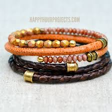 diy leather bangle bracelets with memory wire