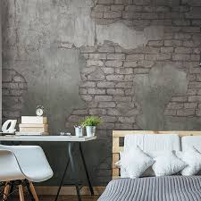 Concrete With Exposed Brick Wallpaper Mural Taupe and Grey M9270