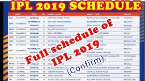 Ipl 2019 Schedule Clip Ready