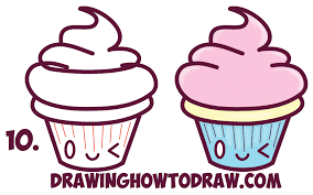 cute cupcake drawing. Contemporary Drawing Learn How To Draw Cute Kawaii Cupcakes With Face On It  Simple Steps  Drawing Lesson In Cupcake P