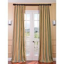 Silk Curtains For Living Room Exclusive Fabrics Signature Stripe Beige Sea Foam Green Faux Silk