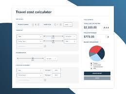 Travel Cost Calculator Travel Cost Splitter Calculator Dashboard By Clara Shen On