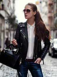 leather jacket outfit streetstyle blogger istanbul fashion blogger studded collar blouse neon