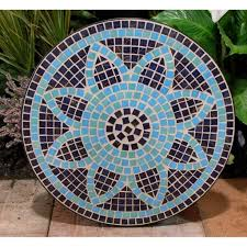 dining room charming round mosaic bistro table in flower motif