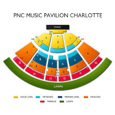Concord Pavilion Seating Chart With Rows Pnc Pavilion Charlotte Seating Chart With Seat Numbers