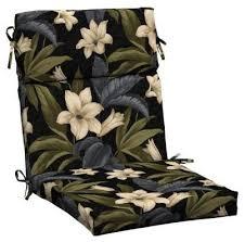 hampton bay outdoor cushions black tropical blossom patio dining chair cushion