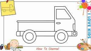 How to draw a pickup truck EASY step by step for kids, beginners ...