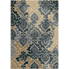 orian rugs victor damask blue indoor outdoor nature area rug common 5 x