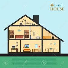 modern house inside. House Inside. Detailed Modern Interior In Cut. Flat Style Vector Illustration Eps10. Inside