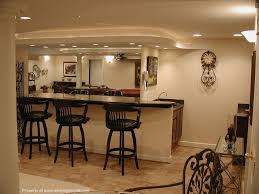Interior:Interesting Basement Home Bar Ideas With Wooden Stools Also Cream  Painted Wall Plus Marble