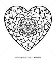 Small Picture Doodle Heart Mandala Coloring Page Outline Stock Vector 464772596