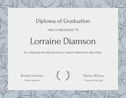 High School Diploma Certificate Fancy Design Templates Customize 261 High School Diploma Certificates Templates