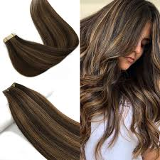 Dark Brown To Light Brown Labeh 16 Inch Tape In Human Hair Extensions Ombre Dark Brown Highlighted Light Brown 20 Pieces 50g
