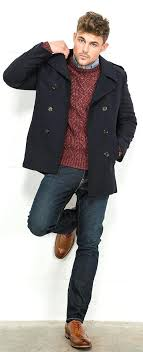 mens pea coat tailored herringbone twill from collection superdry rookie navy