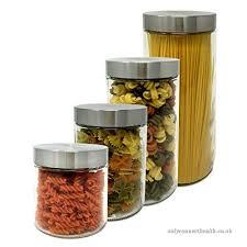pack 4 airtight glass jars capacity 0 88 l 1 28 l 1 70 l 2 10 l