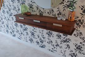 custom made walnut floating wall shelf