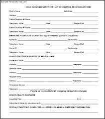Emergency Form For Daycare Child Care Emergency Contact Information And Consent Form