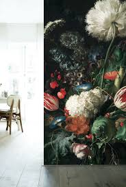 Fotobehang Golden Age Flowers Zijn Grote Kleurrijke Bloemen