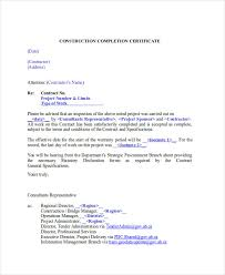 Sample Of Certificate Of Completion Of Construction Project New ...