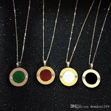 whole white mother of pearl black red green agate natural stone disc pendant necklaces for women stainless steel cz 18k rose yellow gold plated pearl