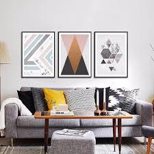 haochu modern geometric triangles mountain canvas painting minimalist diamond shape art poster living room decor wall geometric decor living room3 room