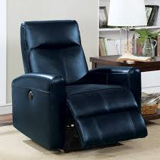 blane power motion leather recliner navy blue