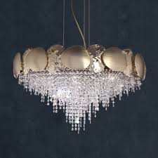 italian designer gold plated contemporary crystal chandelier