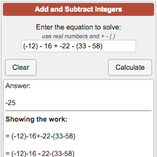 Integers Examples Adding And Subtracting Integers Calculator