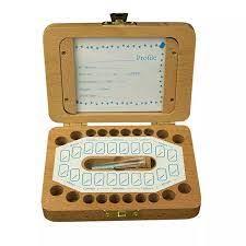ฟันกล่องภาษาโปรตุเกสคำโปแลนด์ภาษาอังกฤษอิตาลีสเปนตุรกีภาษาดัชคำกรีซไม้กล่องเก็บสำหรับทารก  Organizer กล่องนมฟัน 5pz|Storage Boxes & Bins