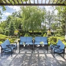gymax 8pcs patio sofa conversation set
