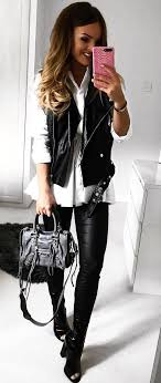 fall outfits women s black leather vest