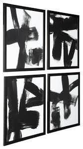 white framed wall art 4 piece set