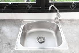 kitchen sink top view. Kitchen Sink Stainless Steel And Faucet.Kitchen Top View Stock Photo - 101869082 E