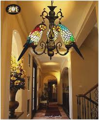 vintage stained glass chandelier lovely tiffany style stained glass three parrots hanging lamp