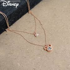 disney necklaces swarovski necklace 18 k gold disney pink finish mickey face heart double necklace hoos and t shirts and princess mickey minnie mouse