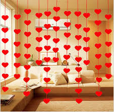 2021 red love heart curtain non woven