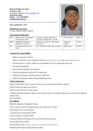 Indian Chef Sample Resume Chef bimal 1
