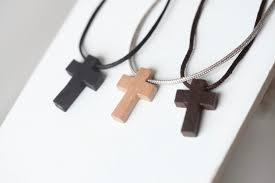 mens wooden cross nylon necklace wood inside