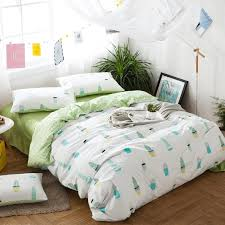 hipster pastel mint green blue yellow and white potting cactus print unique kids 100 cotton twin full queen size bedding sets