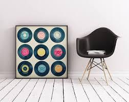 vinyl record art music wall art retro wall decor vinyl collection on wall art using vinyl records with vinyl record etsy