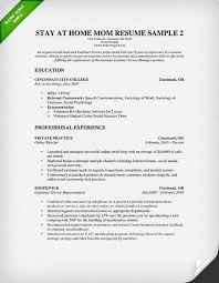 Resume Template For Stay At Home Mom Stay At Home Mom Resume Sample