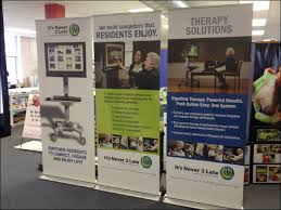 Free Standing Display Boards For Trade Shows Trio of Retractable Freestanding Vinyl Trade Show Banners 54