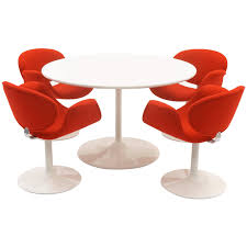 Early Pierre Paulin Dining Kitchen Table Chairs Red And White